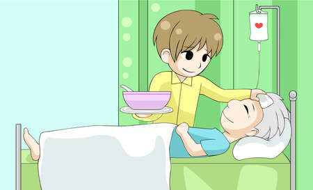 sick bed: Cute cartoon son is nursing his old sick father with love and care in the house, create by vector Illustration