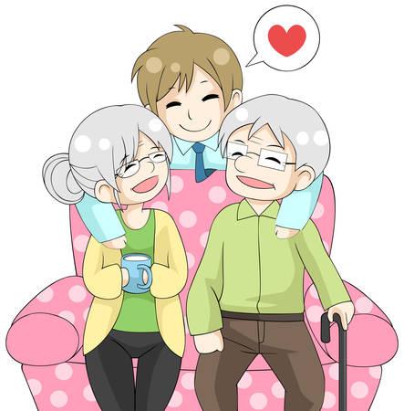 respeto: Hijo de dibujos animados lindo está abrazando su antiguo padres ancianos madre y su padre por la espalda con el amor del sofá en el fondo aislado, crear por el vector Vectores