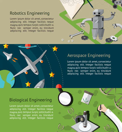Robotic, aerospace, and biological engineering education infographic banner template layout background website page design, create by vector Vetores