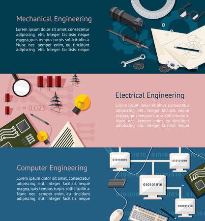벡터에 의해 기계, 전기 및 컴퓨터 공학 교육 정보 그래픽 배너 템플릿 레이아웃 배경의 웹 사이트 페이지 디자인 만들