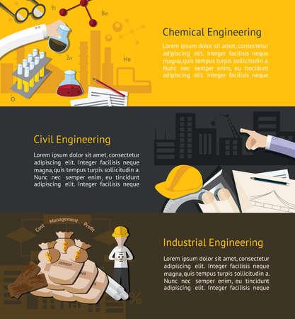 化学、市民、および工業工学教育インフォ グラフィック バナー テンプレート レイアウト背景のウェブサイト ページ デザイン、ベクトルにより作
