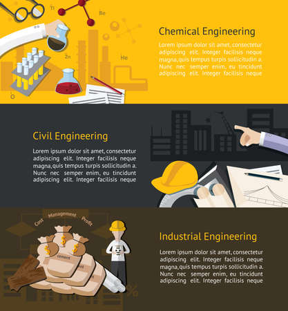 engineering design: Chemical, civil, and industrial engineering education infographic banner template layout background website page design, create by vector Illustration