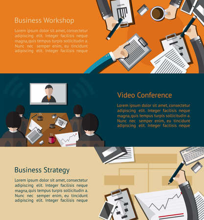 conference meeting: Business infographic activities banner of businessman and businesspeople doing workshop video conference meeting and planing strategy background template layout design create by vector