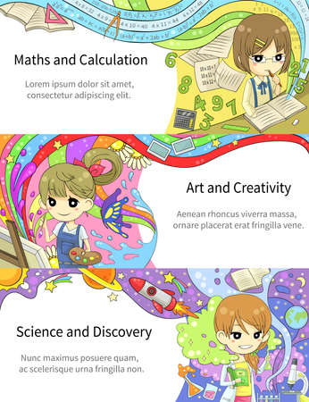 education cartoon: Stylish colorful infographic cartoon girl children studying maths and calculation, art and creativity, science and discovery, in artistic fantasy banner background template layout design, create by vector