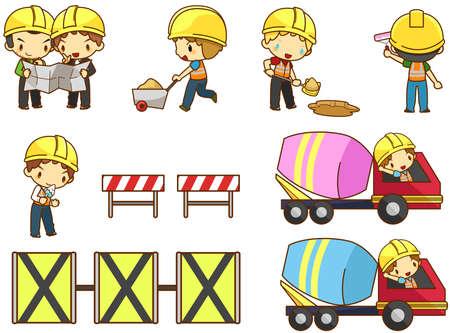 ベクトル漫画子供エンジニア、技術者、およびアイコンのアクション セットを構築する建設現場での労働作業を作成します。