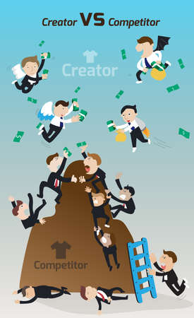struggling: Creator versus Competitor. Cartoon competitors and struggling and fighting to gain competitive advantage in narrow market while innovative creators are free to unlimit resource money and wealth more easy to be successful and be a market leader create by v