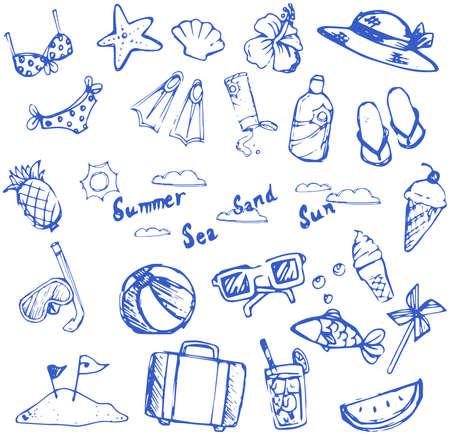 wind wheel: Summer icon vacanza doodle e voce dello sport e il tempo libero insieme collezione di animali marini creare un vettore