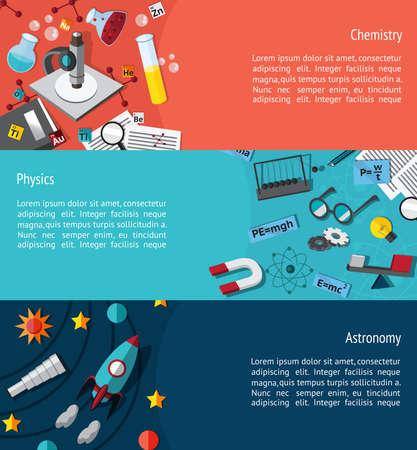 ベクトルによる物理化学と天文学の背景のウェブサイトのページのデザインを作成するような科学教育のインフォ グラフィック バナー テンプレー