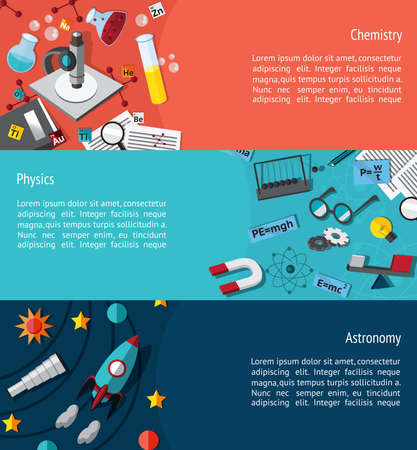 physics: Science education infographic banner template layout such as physics chemistry and astronomy background website page design create by vector