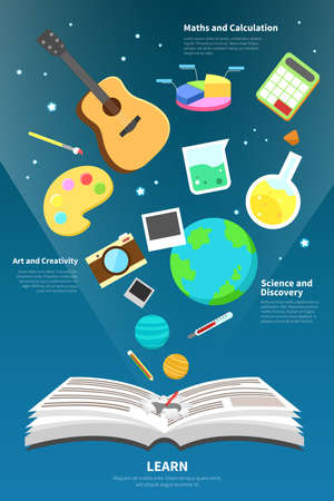 knowledge concept: Science art maths and creativity tool icon is flying from an open open book to represent learn and knowledge concept infographic design with sample text create by vector Illustration