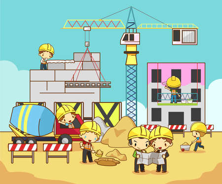 construct site: Cartoon children engineer technician and labor worker working on a construction site building create by vector