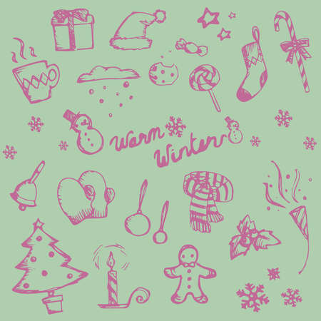 holiday food: Winter holiday doodle ornament icon and leisure fashion item and food candy collection set, create by vector