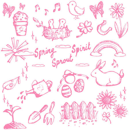 Spring holiday season doodle animal, plant and flower, leisure activities and tools, and Easter festival icon collection set, create by vector