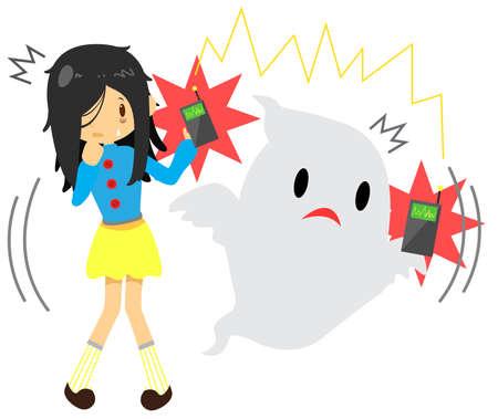 psiquico: Historieta linda chica de pelo largo es ver o sentir un fantasma sobrenatural porque tienen la misma frecuencia en el fondo aislado, crear por el vector Vectores