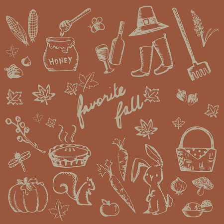 apple and honey: Autumn holiday doodle forest food ingredient, animal, gardening tool and nature object icon collection set in brown background, create by vector