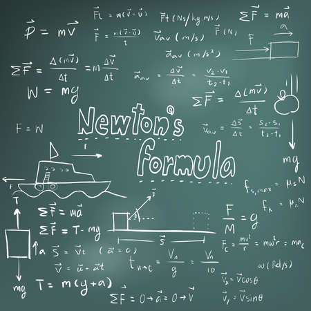 Newton law theory and physics mathematical formula equation, doodle handwriting icon in blackboard background with handdrawn model, create by vector