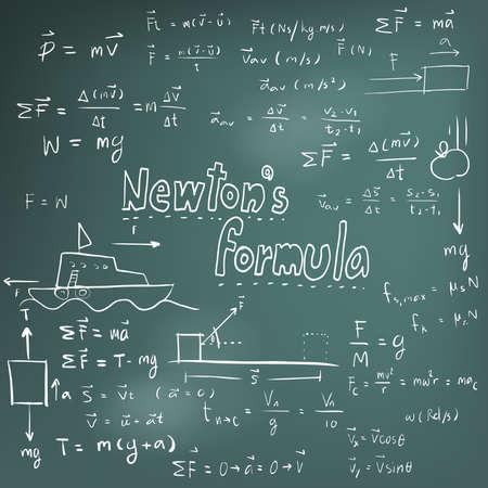 signos matematicos: Teoría de Newton la ley y la física ecuación fórmula matemática, icono de escritura a mano del doodle en fondo de la pizarra con el modelo dibujado a mano, crear por el vector