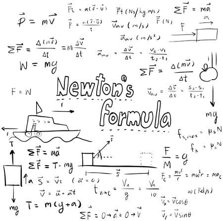 theory: Newton law theory and physics mathematical formula equation, doodle handwriting icon in white isolated background with hand drawn model, create by vector Illustration