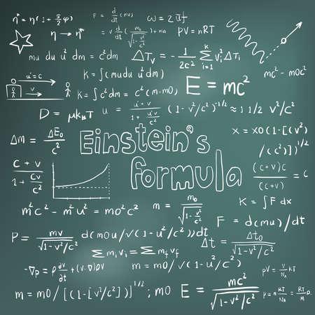 Albert Einstein i teoria prawa fizyki wzór matematyczny równania, doodle ikony pisma ręcznego w tablicy tle wyciągnąć rękę modelu, tworzenie przez wektor Ilustracje wektorowe