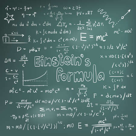 Albert Einstein law theory and physics mathematical formula equation, doodle handwriting icon in blackboard background with hand drawn model, create by vector