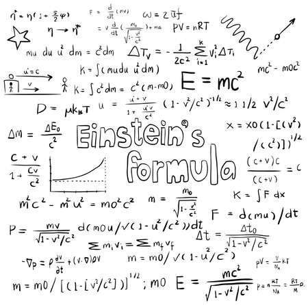 Albert Einstein law theory and physics mathematical formula equation, doodle handwriting icon in white isolated background paper with handdrawn model, create by vector  イラスト・ベクター素材