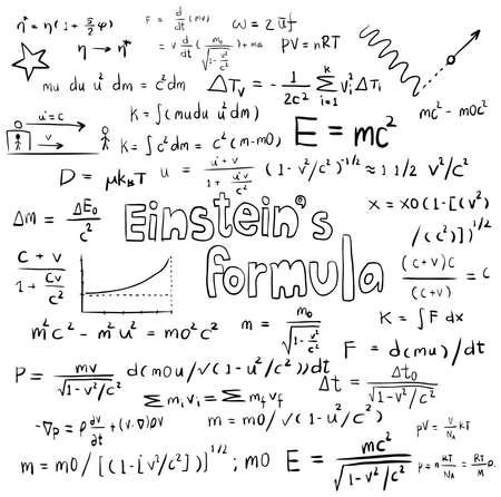 アルバート ・ アインシュタイン法理論と物理学数学計算式の式、手描きモデルでは、分離の白い背景紙に落書き手書きアイコン作成ベクトル