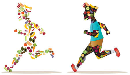 forme et sante: Fruits et légumes icône dans la forme humaine du sportif sont en cours d'exécution et de course les uns des autres pour la bonne santé de la nutrition en arrière-plan isolé. Le coureur avec des victoires alimentaires plus propres. Créer par le vecteur.