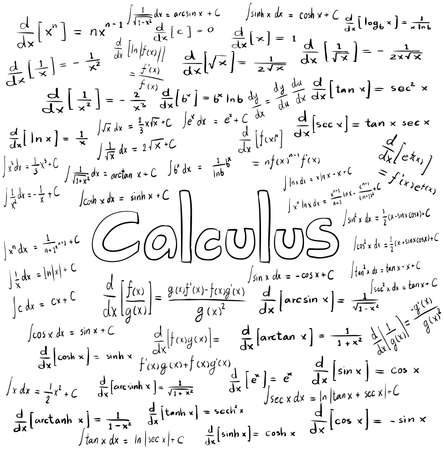 Calculus wet theorie en wiskundige formule vergelijking, doodle handschrift pictogram op geïsoleerde witte achtergrond met handdrawn model, creëren door vector
