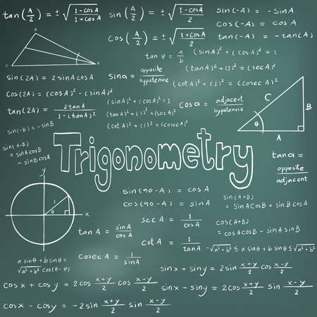 trigonometry: Trigonometry law theory and mathematical formula equation, doodle handwriting icon in blackboard background with hand drawn model, create by vector Illustration