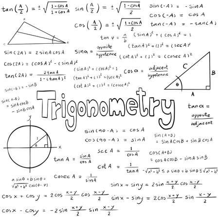 simbolos matematicos: Teoría del derecho Trigonometría y la ecuación fórmula matemática, icono de escritura a mano del doodle en fondo blanco aislado con el modelo dibujado a mano, crear por el vector Vectores