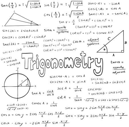 trigonometry: Trigonometry law theory and mathematical formula equation, doodle handwriting icon in white isolated background with hand drawn model, create by vector Illustration