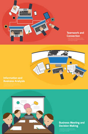 planing: Business infographic activities banner of teamwork and connection, planing and analyzing, meeting and decision making background template layout design, create by vector