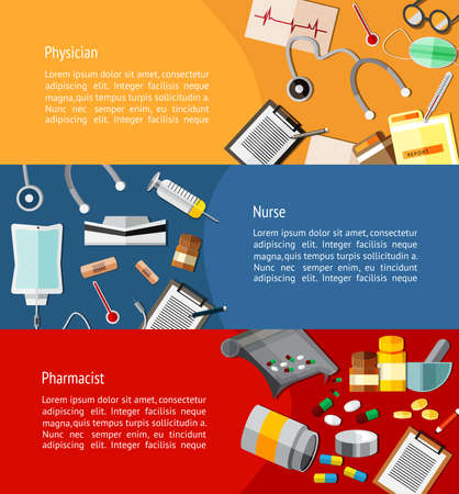 医師、看護師、薬剤師と医療アイコン ツール インフォ グラフィック バナー テンプレート レイアウトの背景のウェブサイトのために設計などの医  イラスト・ベクター素材