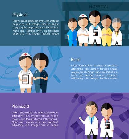 medico caricatura: Médicos como médico, enfermera o farmacéutico y profesión sanitaria bandera infografía diseño plantilla de fondo diseñado para el sitio web, crear por el vector