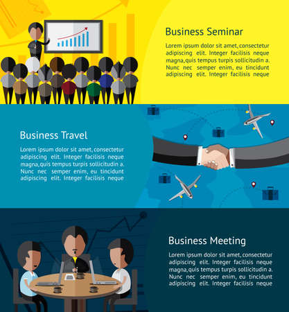 workshop seminar: Business infographic activities banner of businessman and businesspeople doing seminar, meeting, and business travel with partnership background template layout design, create by vector Illustration