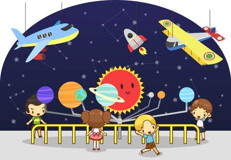 avion caricatura: Los ni�os est�n teniendo un estudio educativo en la f�sica la ciencia y la astronom�a y la invenci�n museo, crear por el vector Vectores