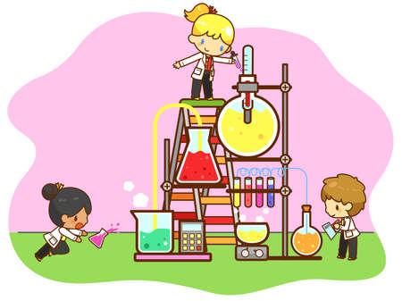 만화 아이들은 벡터에 의해 생성, 작업 및 격리 된 배경에 거대한 테스트 튜브와 냉각 타워 정유 실험실에서 실험, 화학을 공부하고