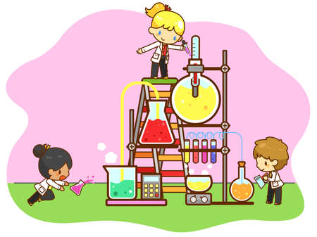 Cartoon children are studying chemistry, working and experimenting in the cooling tower refinery laboratory with huge test tube in isolated background, create by vector