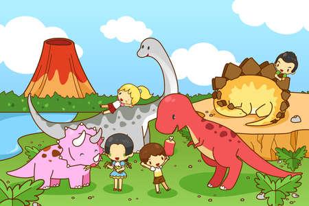 escuela caricatura: Dinosaurio de la historieta mundo de la imaginación con los niños y los niños jugando y alimentando Tyrannosaur