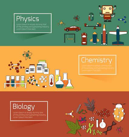 experimento: La educación científica bandera infografía plantilla de diseño tales como la física