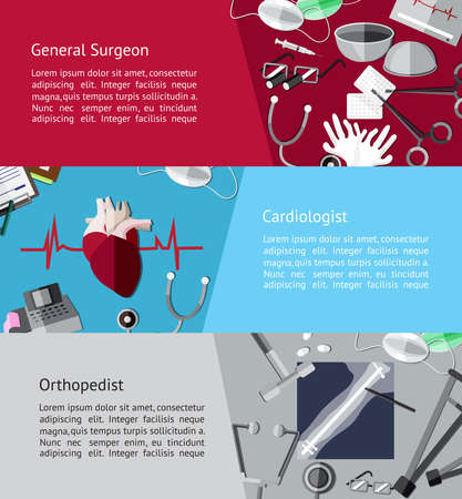 Type of specialist physicians doctor such as general surgeon Ilustrace