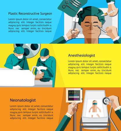 chirurgo: Tipo di specialista medici medico come chirurgo plastico ricostruttivo Vettoriali