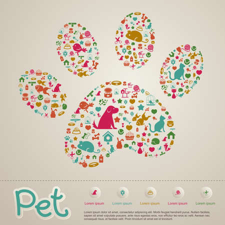 Cute creative animal and pet shop infographic  Çizim