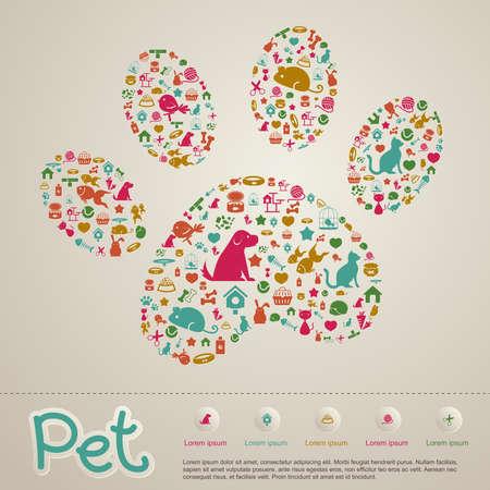 patas de perros: Lindo creativo infografía animales y tienda de mascotas Vectores