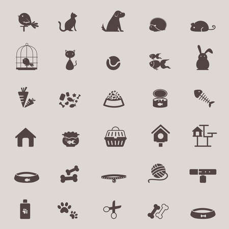 cat grooming: Silhouette cute animal and pet shop tool icon design set for shopping advertisement