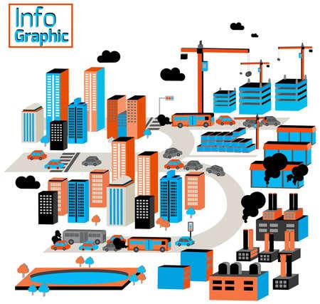 paesaggio industriale: Città di industriali e inquinamento con edifici Vettoriali
