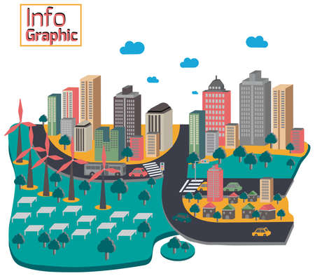 clean energy: Capital city of green and clean renewable energy with buildings Illustration