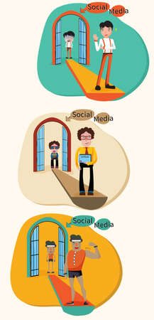 stage door: A concept cartoon illustration of how a social media turn a weak