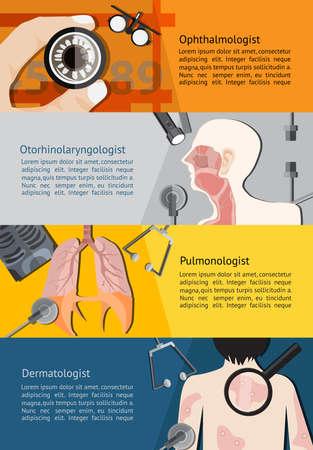otorhinolaryngology: Tipo di medico specialista medici come Oculista occhio Vettoriali
