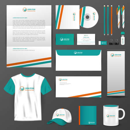 Business accessories with brand icon logo design layout and sample text in black isolated background